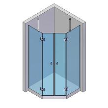 Beispielhafte Aufteilung für eine 5-Eck-Dusche