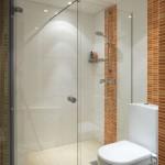 Klarglas Dusche mit 1 Tür und 1 Festteil