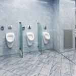 Sichtschutz aus Glas zwischen den Urinalen